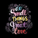 Faites les petites choses avec grand amour illustration de vecteur