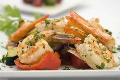 Faites sauter les crevettes avec la friture de stir Photo stock