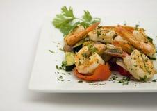 Faites sauter les crevettes avec la friture de stir Photos libres de droits