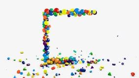 Faites signe les graphiques, fond carré animé de cadre sur le blanc, dispersant et tombant sur les objets géométriques de planche illustration libre de droits