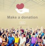 Faites un concept de charité de coups de main de donation photos stock