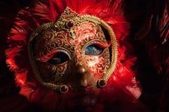 Masque rouge et noir de plume Photo libre de droits