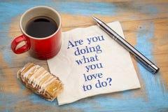 Faites-vous ce que vous aimez faire ? Photos libres de droits