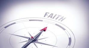 Faith against compass Stock Photography