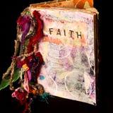 Faith Art Journal. A handmade mixed media journal about faith royalty free stock photo