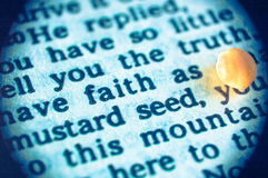 Faith as mustard seed. A macro shot of a Bible text with the words of Jesus: Have faith as small as of mustard seed  (New Testament, Gospel of Luke 17,6 Stock Photography