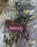 Faith and Believe. Is related. Because of faith, one believes something. Faith motivates and empower us to overcome difficulties in life.  are power. To be Stock Image