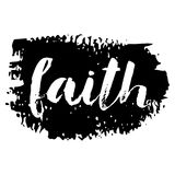 Faith brush lettering at stroke background. Royalty Free Stock Images