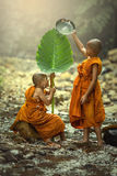 Faith of buddhism. The novice two were water play in the creek. Little monks of Buddhism royalty free stock images