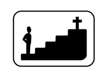 Faith Concept Black and White Illustration Royalty Free Stock Image