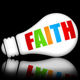Faith. Concept with electric lightbulb over black background Stock Photo