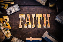 Faith Concept Wood and Rusted Metal Letters Royalty Free Stock Photo