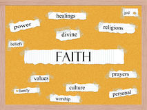 Faith Corkboard Word Concept Stock Images