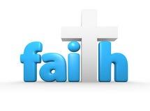 Faith. 3d faith text with a cross for the T Royalty Free Stock Images