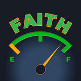 Faith Gauge Shows Scale Religious And Indicator. Faith Gauge Indicating Dial Faithful And Christian Stock Photos