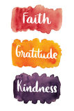 Faith, gratitude, kindness, handwritten text Royalty Free Stock Image