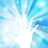 Hand touch the bule Light Vector Royalty Free Stock Photos