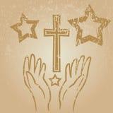 Faith hands. Grunge style vector illustration of faith hands Stock Images