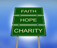 Faith Hope and Charity Road Sign Stock Image