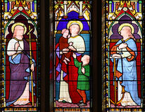 Faith Hope Charity stained glass window Royalty Free Stock Photos