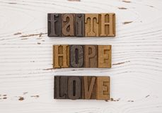 Faith Hope and Love Stock Photo