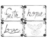 Faith Hope Love and Dove Illustration drawing set for decorate. Stock Photography