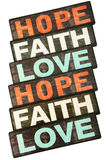 Faith, Hope & Love. Isolated on White Background Royalty Free Stock Photos