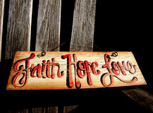 Faith, Hope Love Sign Stock Photo