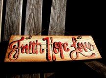 Faith, Hope Love Sign stock photo