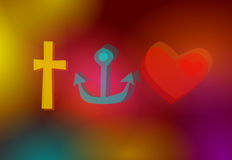 Faith, hope & love symbols. Abstract christian symbols: Faith, hope, love Stock Photos