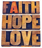 Faith, hope and love typography in letterpress Royalty Free Stock Image