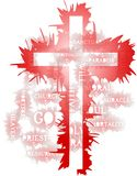 Faith illustration with cross and words isolated Stock Photography