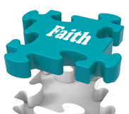 Faith Jigsaw Shows Believing Religious Belief Or Trust. Faith Jigsaw Showing Believing Religious Belief Or Trust Royalty Free Stock Photography