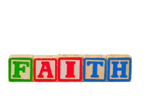 Faith Letter Blocks 1. The word FAITH spelled out vertically using some old alphabet blocks Stock Images