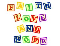 Faith love and hope Stock Photos