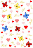 Faith, love and hope with hearts and butterflies Stock Images