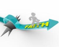 Faith - A Man's Beliefs Save Him. A man runs on an arrow marked Faith as it rises over a deep hole stock illustration