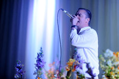 Faith No More. Singer Mike Patton of Faith No More during performance at festival Rock for People in Hradec Kralove, Czech republic, June 5, 2015 Stock Images