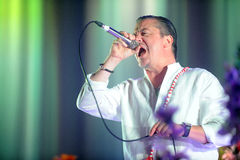 Faith No More. Singer Mike Patton of Faith No More during performance at festival Rock for People in Hradec Kralove, Czech republic, June 5, 2015 Royalty Free Stock Photo