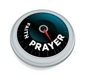 Faith and Prayer Meter Concept Illustration. A faith and prayer dial meter odometer concept illustration isolated on white. Vector EPS 10 available Royalty Free Stock Images