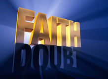 Faith Shines Through. A shiny, gold FAITH sits atop a dark gray DOUBT on a deep blue background brilliantly back lit with light rays shining through both words Royalty Free Stock Photos