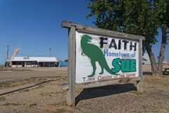 Faith is known as Home of Sue, the Most Complete T-Rex Ever Discovered. FAITH, SOUTH DAKOTA, September 7, 2018 : The town, known as Home of Sue, the Most royalty free stock images