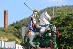 Faith in St. George in Rio de Janeiro. Rio de Janeiro, Brazil, April 9, 2017: In Rio de Janeiro there is great devotion to St. George, known as The Holy Warrior Stock Photos