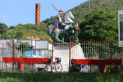 Faith in St. George in Rio de Janeiro. Rio de Janeiro, Brazil, April 9, 2017: In Rio de Janeiro there is great devotion to St. George, known as The Holy Warrior Royalty Free Stock Photography