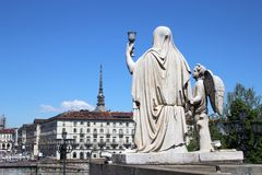 Faith Statue with the Holy Graal and Mole Antonelliana taken from the Gran Madre di Dio, Italy. stock image
