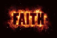 Faith text religion flame flames fire burn burning Stock Image