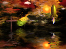 Faith. Vivid sunset over water. Cross and rocket Royalty Free Stock Photos