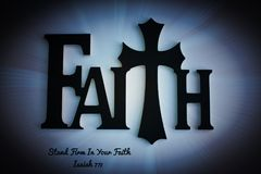 Faith Wooden Word/Letters with Cross Background stock photos