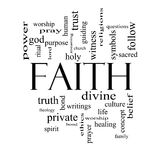 Faith Word Cloud Concept in black and white Royalty Free Stock Photo
