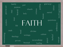 Faith Word Cloud Concept on a Blackboard Stock Image